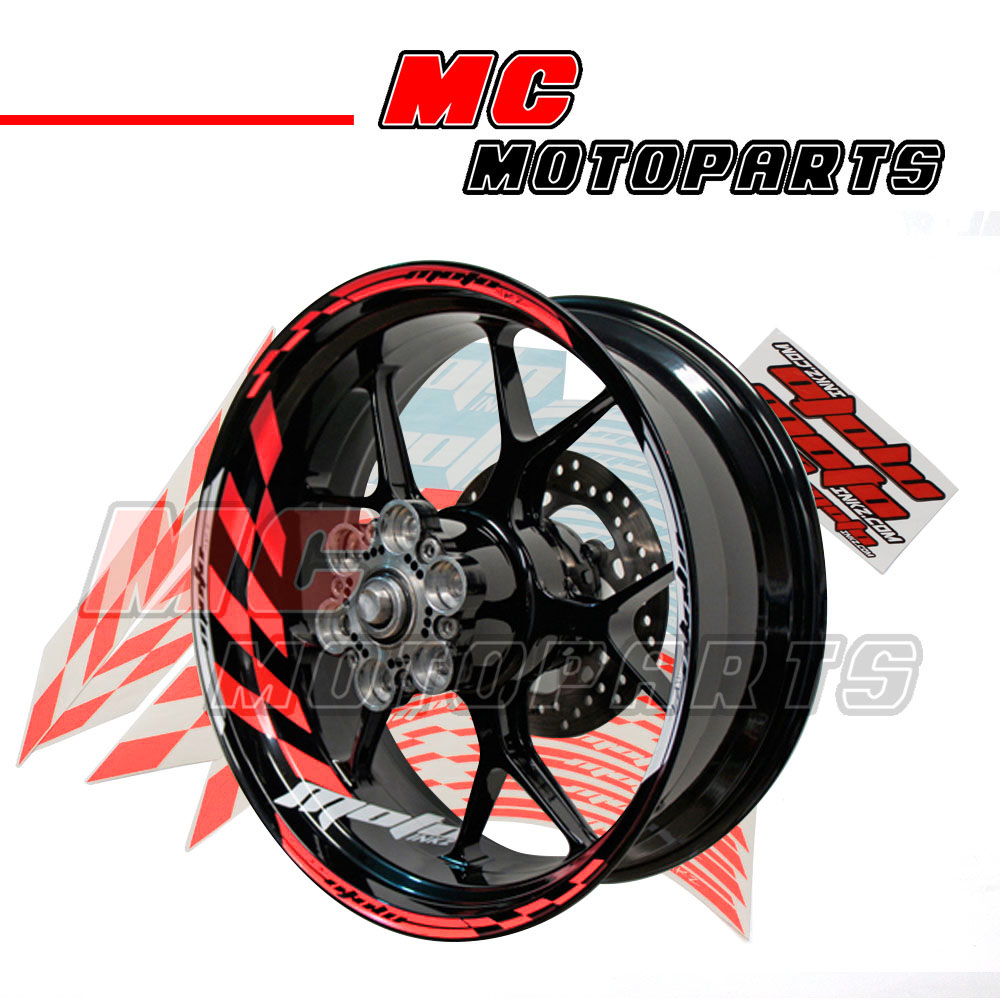 Racing red 17 wheel rim stickers decal stripes gp1 fit for Auto collant mural
