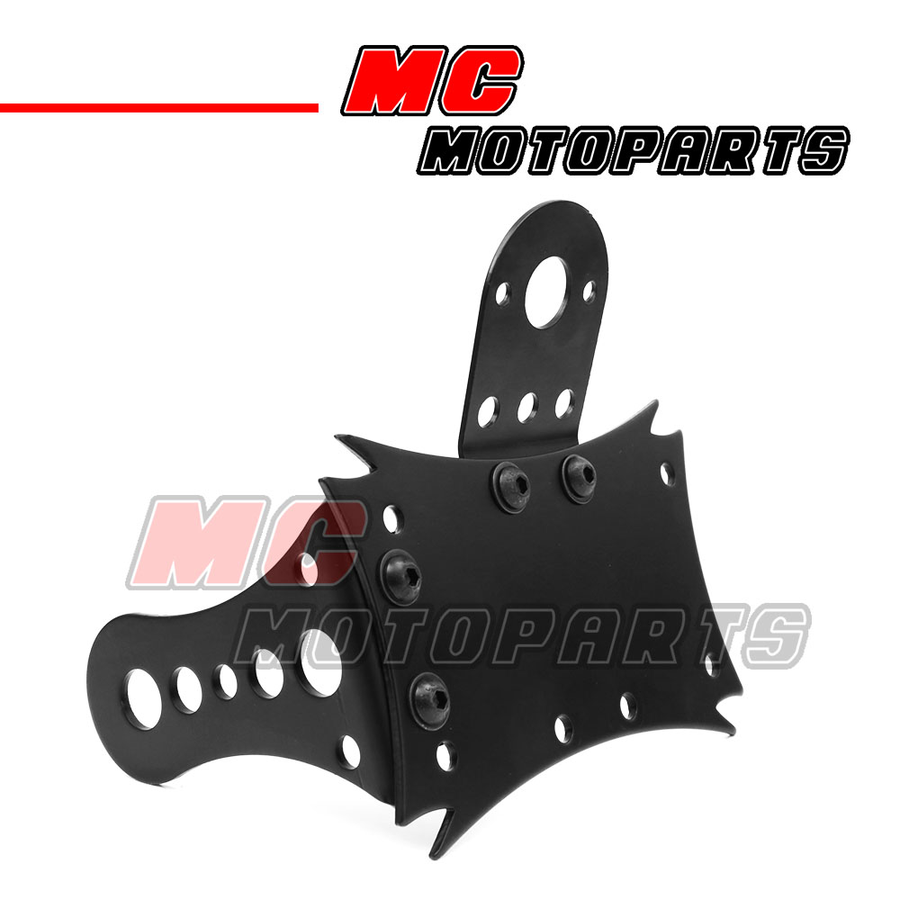 New Black Side Mount Number Plate Bracket Harley Softail Chopper Bobber Rigid