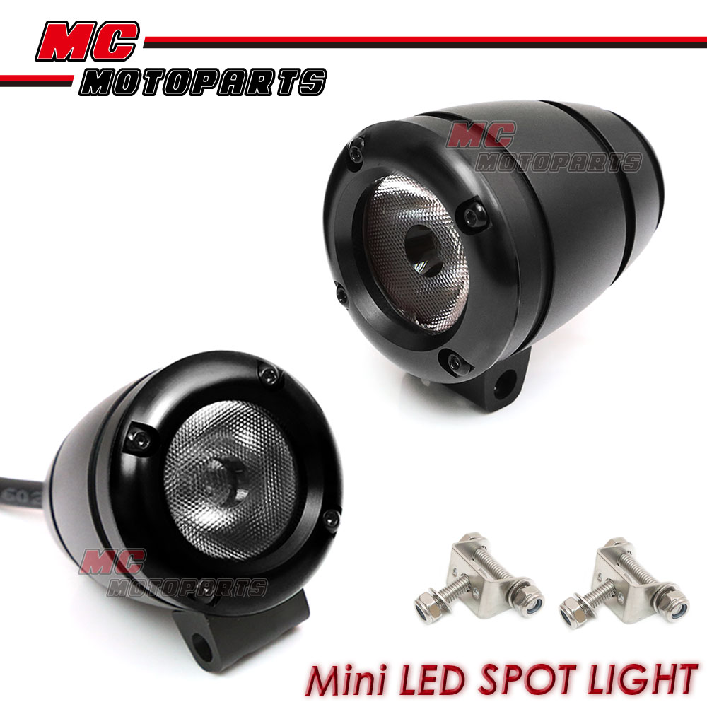 black mini aux spot led spot light 1 pair for harley davidson motorcycles ebay. Black Bedroom Furniture Sets. Home Design Ideas